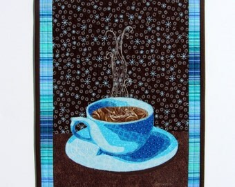 Coffee Wall Art Quilt , Textile Wall Hanging, Kitchen Art, Coffee Cup Decor, Fabric Collage, Fiber Art, Wall Quilt Coffee, Quilt Sale
