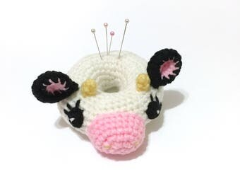 Amigurumi Cow Doll Pin Cushion Crochet Cow Plush Crochet Donut Pin Cushion Sewing Supplies Home Decor Kids Toy Mothers Day Gift for Her
