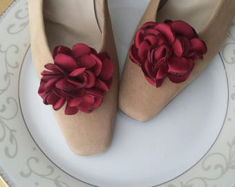 Flower Shoe Clips, Burgundy, Red, Custom Bridal Wedding Shoe Accessory, Photo Prop, Prom, Flower Girl, Bridesmaid Gift, Mother, Satin Rose
