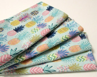 Large Cloth Napkins - Set of 4 - Pineapple Multicolor - Blue Pink Green Yellow Purple - Everyday, Table, Dinner, Wedding