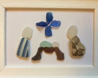 Nativity scene, Seaglass nativity picture, Scottish sea glass art, christmas decoration