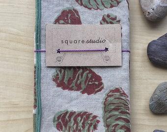 hand screen printed linen serged edge napkins