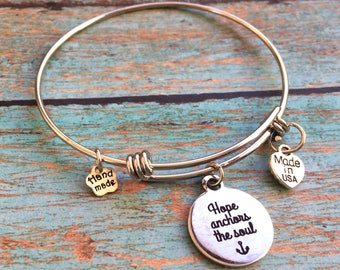 Hope Anchors the Soul Bracelet, Hope Charm Bracelet, Anchor Charm Bracelet, Anchor Bangle Bracelet, Stackable, Adjustable, Stainless Steel