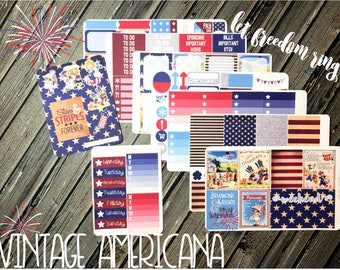 Vintage Americana Weekly Planner Stickers Kit - Vertical Planner Kit - July 4th Kit - 4th of July Kit - America Planner Kit