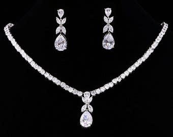 Zirconia Bridal Jewelry Set Earrings Necklace Wedding Jewelry Bridesmaid Gifts Bridal Set Anniversary Gift Platinum Plating KD80084