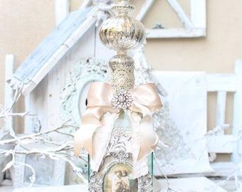 Christmas Handmade Altered Bottle/Christmas Home Decor/ Shabby Chic Christmas/ Ornament/ Merry Christmas