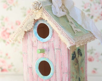 Mini Shabby Chic Pink, Blue, and Green Spring Rose Wooden Birdhouse