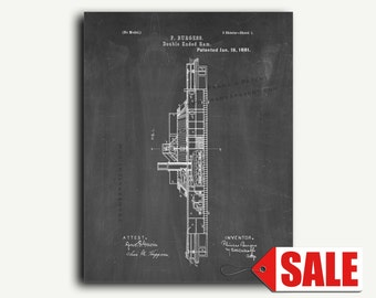 Patent Print - Double Ended Ram Patent Wall Art Poster