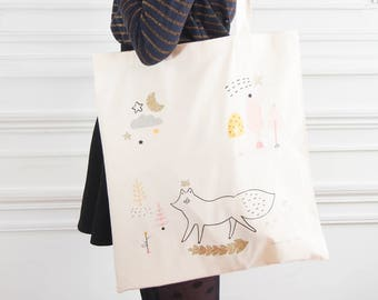 "Glittery & Eco-friendly cotton Tote bag ""Föx"" - Natural/Fair trade/Organic - Glitters/Gold/Illustration -Forest/Woodland/Fox/Animal /Trees"