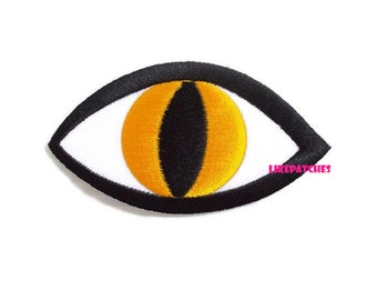 Big Eye Yellow Eye Cat Eye New Sew / Iron On Patch Embroidered Applique Size 8.6cm.x4.6cm.