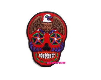 Brown Eagle Red Skull - Ghost Halloween Patch New Sew / Iron On Patch Embroidery Applique Size 6.7cm.x9.1cm.