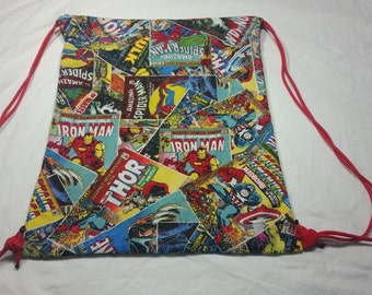 Drawstring Bag Made With Marvel Fabric Comic Books, Marvel Bag, Marvel Fabric, Awesome Bag, Nerdy Gift, Nerdy Backpack, Superhero Bag