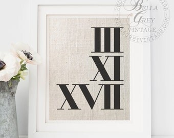 Roman Numerals Fabric Art Print | 2nd Cotton Anniversary | 4th Linen Anniversary Gift | Personalized Wedding Date | Husband Wife Engagement
