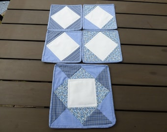 Coaster set, (mug rugs). Blue and white fabric, quilted, 5 piece, pot and 4 cup mats, great to smarten a table.  Ideal gift. Free UK P & P.