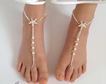 Barefoot Sandals,Starfish Barefoot Sandals,Baby Barefoot Sandals,Photo prop,Baptism,Flower Girls Barefoot Sandals,Wedding barefoot sandals