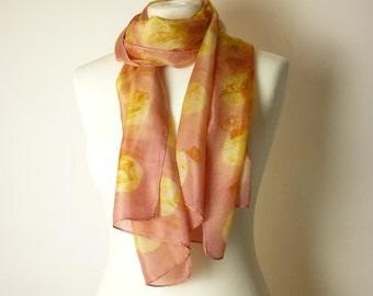 eco print silk scarf eco print scarf gold scarf gold silk scarf pink scarf pink silk scarf eco friendly scarf shibori scarf salmon scarf