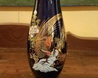 Gold embellished Pheasant Vase