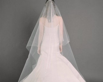 W.J. VEIL | cathedral length drop veil, bridal veil, wedding veil, long veil, circle drop veil, white, diamond white, ivory tulle