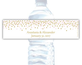 Wedding water bottle labels (10) - Water bottle stickers - Water bottle labels bridal shower - Water bottle wrappers (WW008)