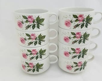 Vintage Villeroy & boch septfontaines 8 roses cups. Coffee cups. Mugs, milk, tea brocante