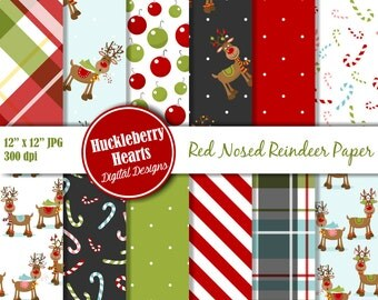 80% OFF SALE Reindeer Paper, Christmas Paper, Christmas Reindeer, Digital Scrapbook Paper, Rudolph, Printable, Commercial Use
