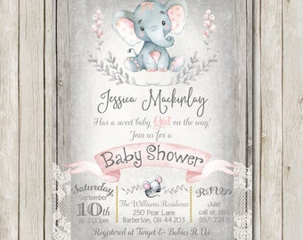 elephant baby shower invitation rustic baby shower invitation lace girl invite wood