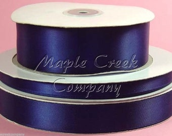 5/8 inch x 100 yards of Navy Blue Double Face Satin Ribbon