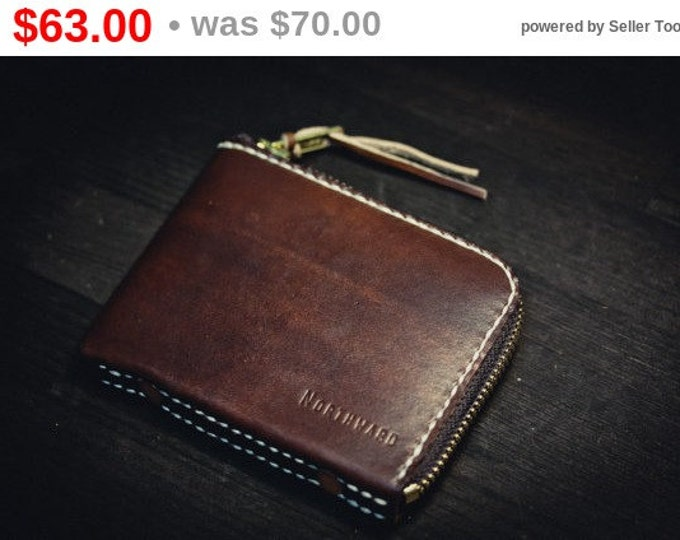 Hand-dyed Leather Mini Zip Wallet/ Minimalist Wallet / Small leather wallet / Leather Wallet/ Card wallet/ Pocket wallet