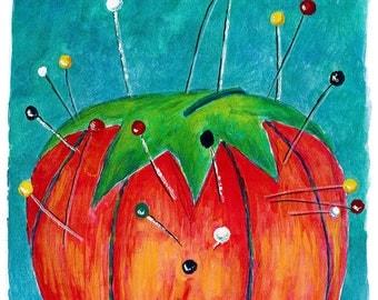 Tomato pin cushion mixed media print / Sewing room decor print / Pin cushion mixed media art for sewists / Old fashioned pin cushion art