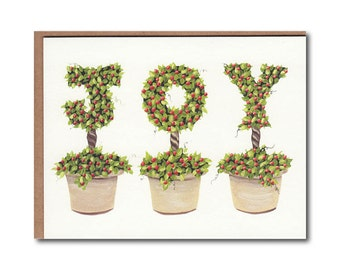 Joy with Berries Notecards - Joy cards - Topiary Stationary