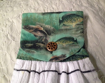 hanging towel fish trout for fisherman's cabin or rv