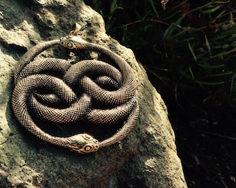 Auyrn from 'The Never Ending Story' - 25% to charity - infinity snake - sacred symbol - aurin snakes
