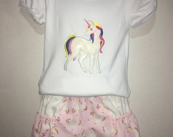 Girls Unicorn Short Set! Boutique Outfit Pockets Embroidered Shirt Birthday Party Magic Magical 2, 3, 4, 5, 6, 7, 8, 10, 12 Toddler Horse