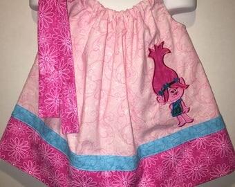 Girls Poppy Pillowcase Dress Troll Princess Girl Pillow Case Girl Boutique Summer Sun Dress! Birthday Party Pink Dress Optional Bow