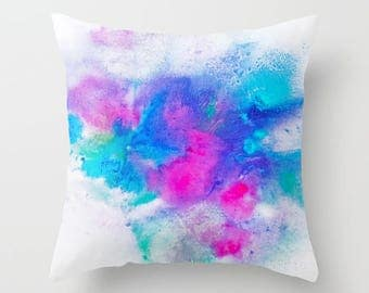 Watercolor Pillow, Throw Pillow, Blue, Pink and Green,Watercolor Art, Decorative Pillow, Home Decor, Accent Pillow, Pillow Covers