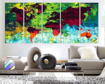 """XLARGE 30""""x70"""" 5Panels Art Canvas Print down Wonders of the world Oil paint texture Map Wall decor Home interior (framed 1.5"""" depth)"""