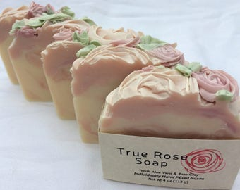 True Rose Handmade Soap features Organic Aloe Vera, Grapeseed Oil, and Rose Clay