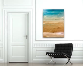 Large abstract painting,original fine art,acrylic on canvas,gallery wrapped canvas,teal white tan abstract,horizon abstract,seascape decor