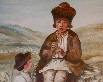 The Shepherd - Oil painting - Romanian Art