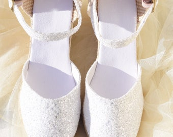 Sparkly bridal shoes etsy glitter platform wedges espadrilles wedding shoes bridal sparkly ceremony shoes party shoes ibizencas junglespirit Image collections