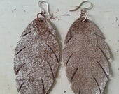 Leather Feather Earrings - Single Layer