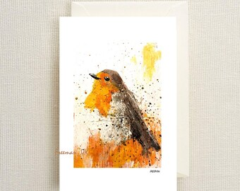 The Robin Abstract fine art greetings card