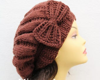 Chocolate Brown Woman Hand Knitted Hat with Bow, Brown Beret hat with bow, brown knit hat, slouchy knit women's hat with bow, winter hat