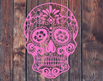 Sugar Skull Decal, Lilly Pulitzer, pattern decal, yeti decal, car decal, laptop decal, custom decal