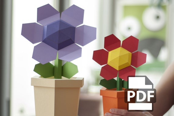 Paper craft flower pot gallery flower decoration ideas pot flower diy papercraft kit instant download pot flower diy papercraft kit instant download mightylinksfo mightylinksfo