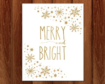 Merry and bright, Christmas printable art, Instant Download