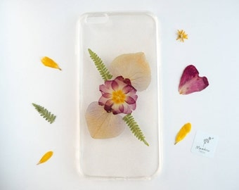 iPhone 6 Plus case, real pressed flower phone case, resin floral bumper case