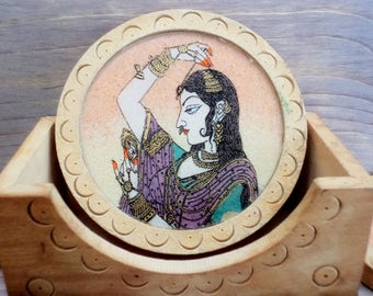 Vintage Coasters, Set of five Coasters with stand, Cardboard and glass Coasters, Coasters with Indian woman