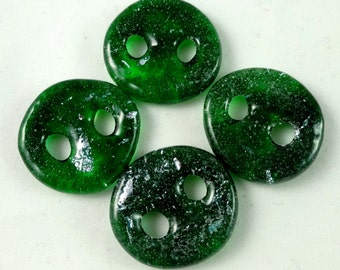 Art glass sewing buttons, green and silver dichroic, knitting button, fastener, needlecraft supply