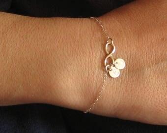 Infinity Bracelet, 925 Sterling Silver, Initial Disc Bracelet, Personalized Bracelet, Monogram Bracelet, Dainty Coin Discs, Family Bracelet